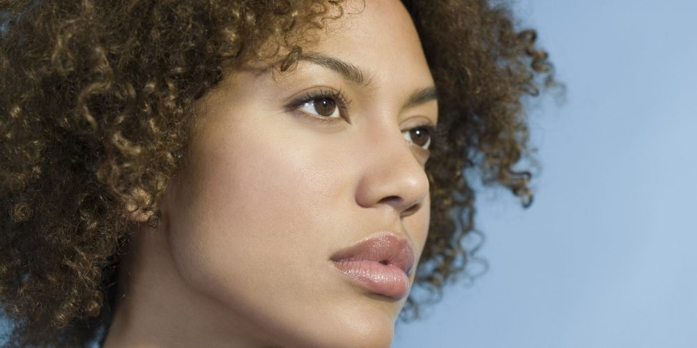 Mixed Race woman with curly hair