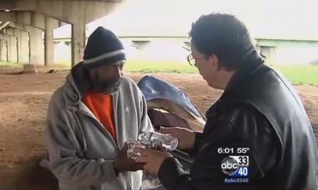 Rick Wood and homeless man