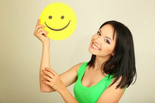woman with happy face