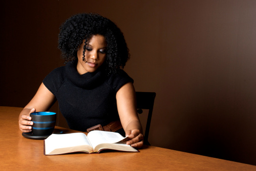 woman reading bible