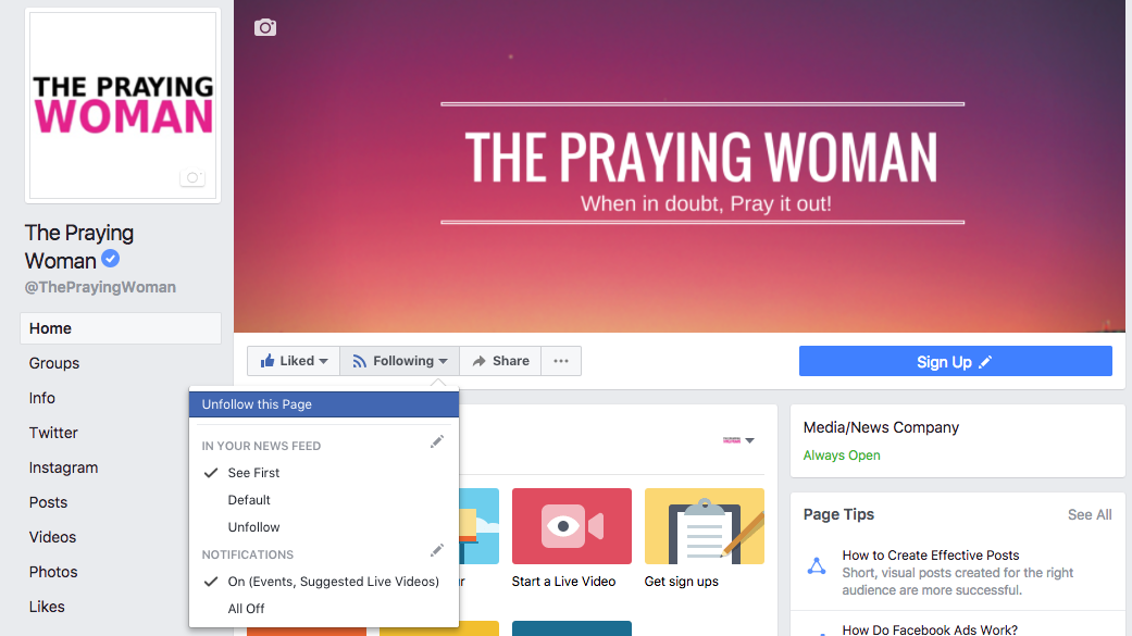 The Praying Woman Facebook Notifications